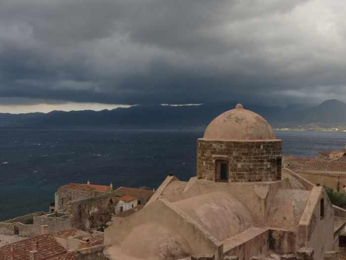 stormclouds above Monemvasia