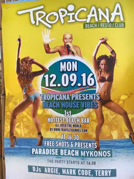 Tropicana club Mykonos beach house vibes party