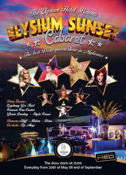 Elysium Hotel Mykonos sunset cabaret closing party