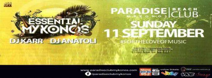 Paradise beach club Mykonos party event