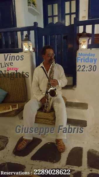 Vinos wine bar Mykonos live jazz event