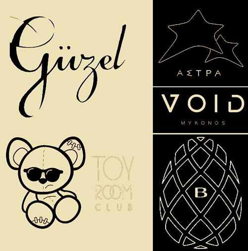 Mykonos nightclub logos