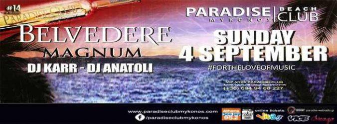Paradise Beach Club Mykonos Belvedere Magnum party