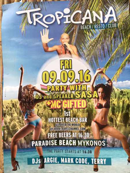Tropicana club Mykonos beach party event