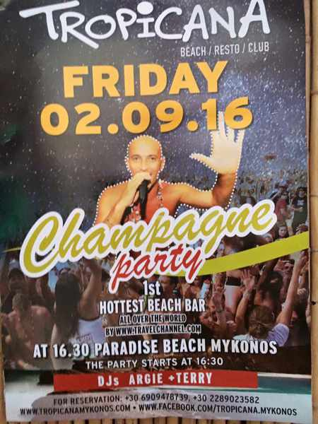 Tropicana beach club Mykonos Champagne party