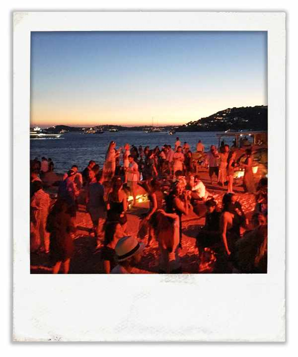 sunset party at Scorpios Mykonos