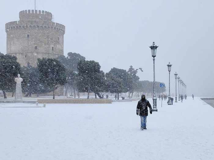 Snow at Thessaloniki Greece