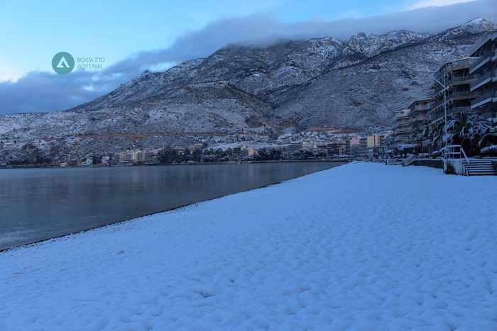 snow at Loutraki Greece