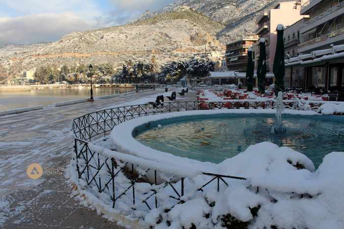 snow at Loutraki Greece