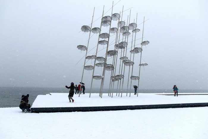 Snow at the Thessaloniki waterfront