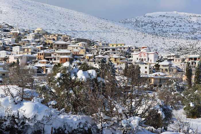 Mesochoria village on Evia island