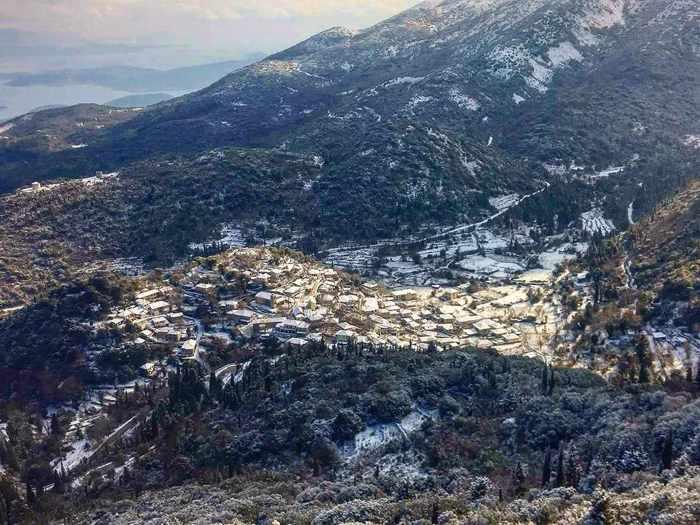 a mountain village on Lefkada island