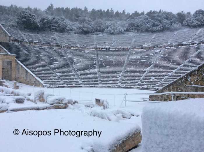 Andreas Aisopos photo of snow at Epidaurus