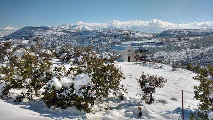 Snow in the countryside near Heraklion Crete