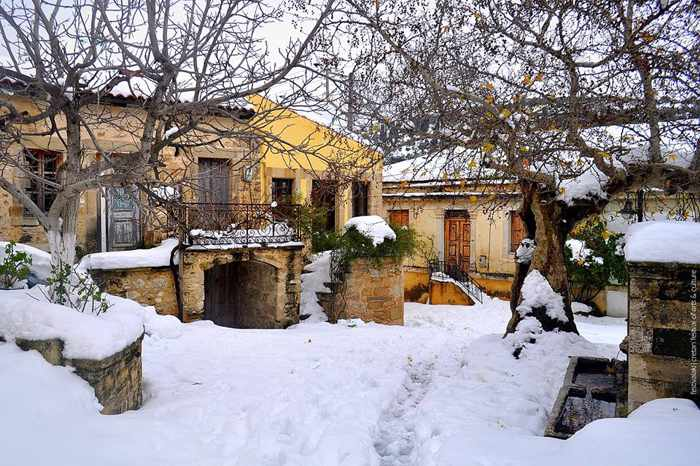 Snow in Asites village on Crete