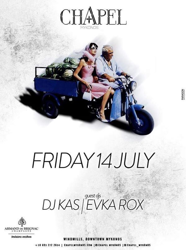 Chapel club Mykonos party event July 14