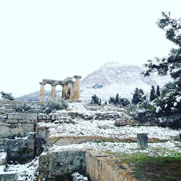 Snow at Ancient Corinth Greece