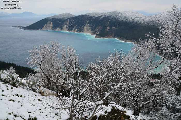 Dimitris Artavanis photo of snow in the Exoge area of Ithaca island January 10