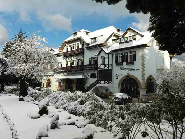 Snow at the Elafos Hotel on Rhodes island Greece