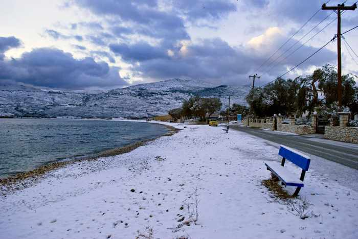 snow at Kalamitsa beach on Skyros