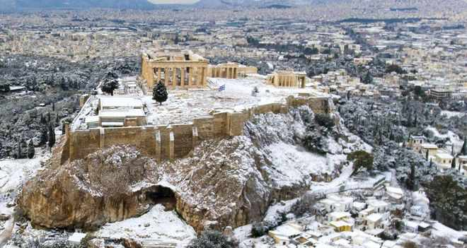 Snow on the Acropolis in Athens