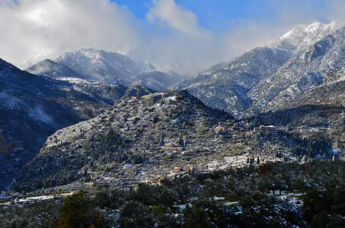 Snow as the Mystras historic site near Sparta