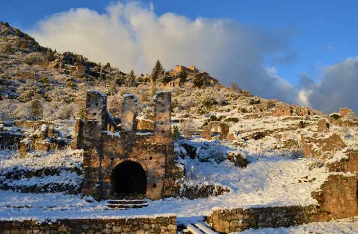 Snow at Mystras historic site