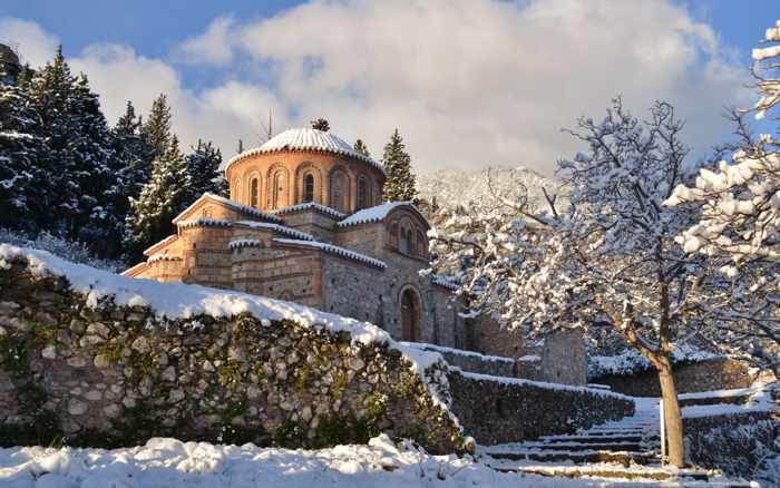Snow at Mystras Greece