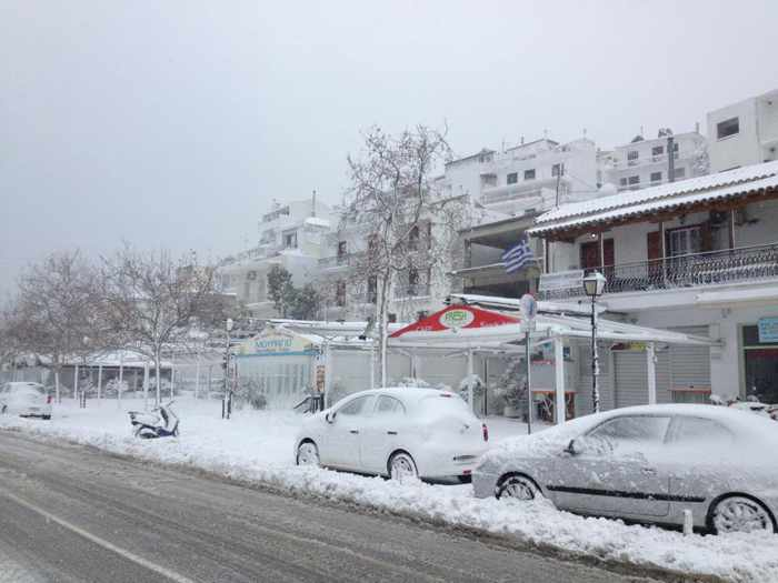 Snow on Skiathos
