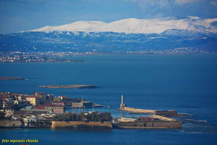 Snowy mountains near Chania Crete