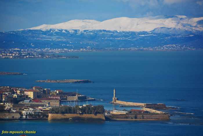 Snowy mountains near Chania Crete