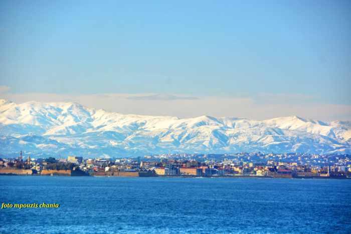 Snowy mountains at Chania Crete
