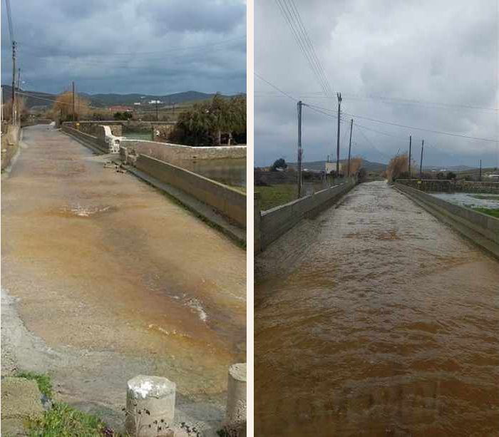flooded road on Mykonos island