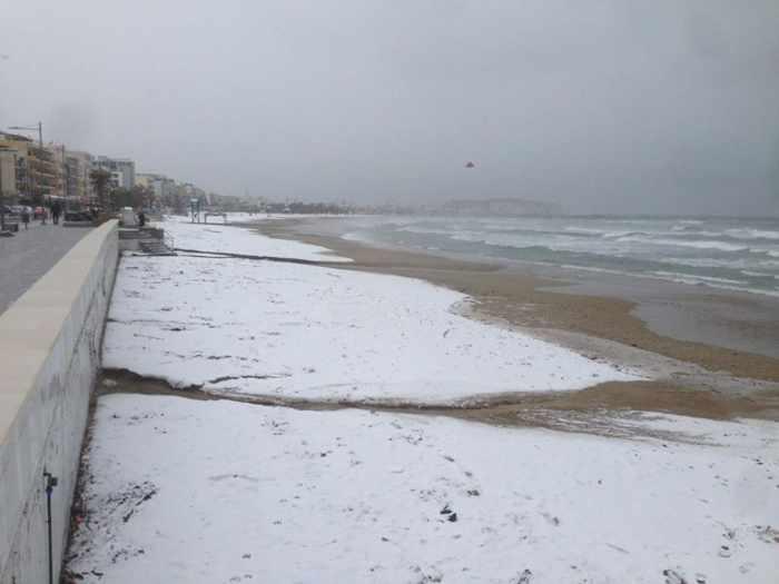 Snow on Rethymno beach Crete