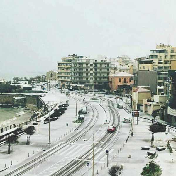 Snow at Heraklion Crete