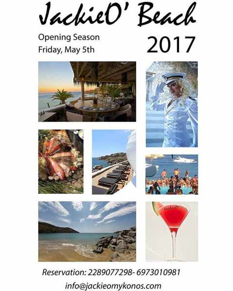 JackieO Beach Club Mykonos season opening announcement