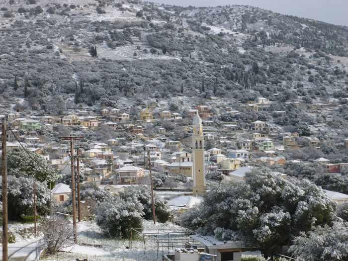 Snow at Farakiata village on Kefalonia island