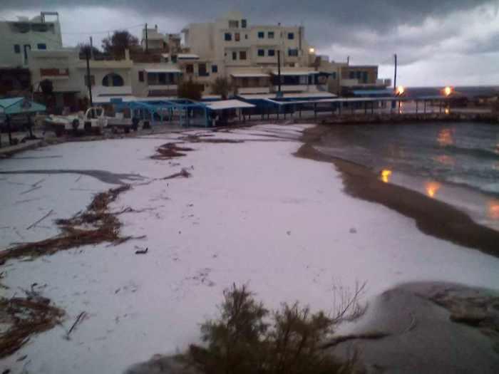 snow at Apollonas on Naxos