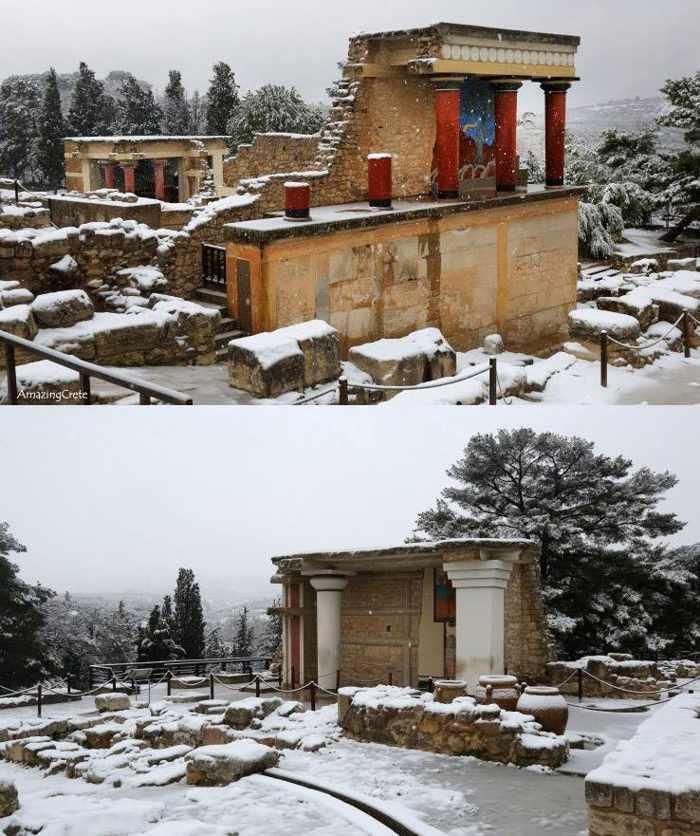 Snow at Knossos Palace Crete
