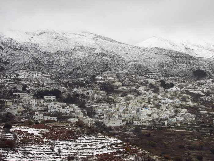 snow at Koronida village on Naxos