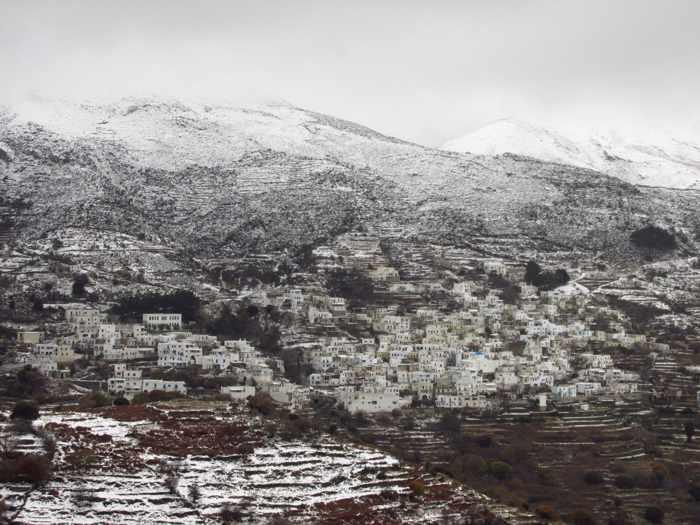 snow at Koronida village on Naxos