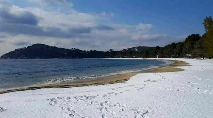Snow on Koukounaries beach Skiathos