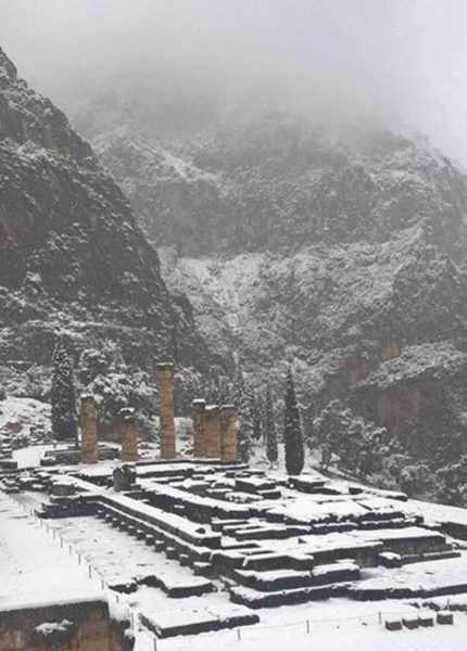 Snow at Delphi Greece