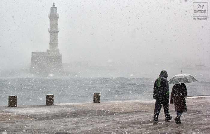 Snow at Chania Crete