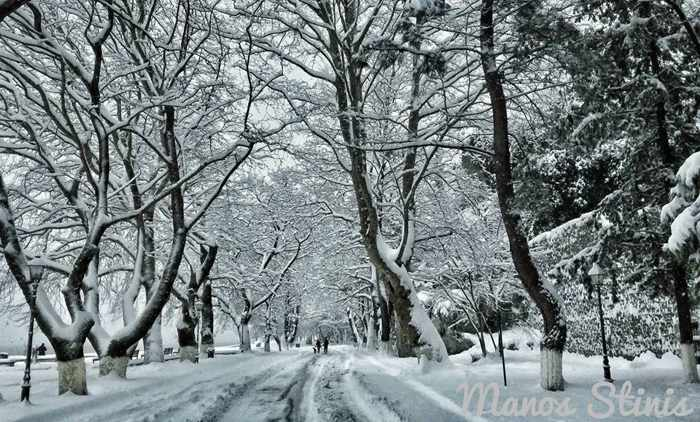 Snow in Ioannina Greece