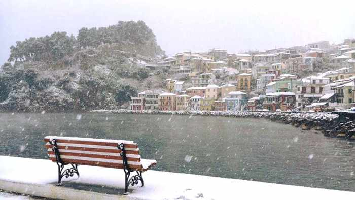 snow at Parga Greece January 10 2017