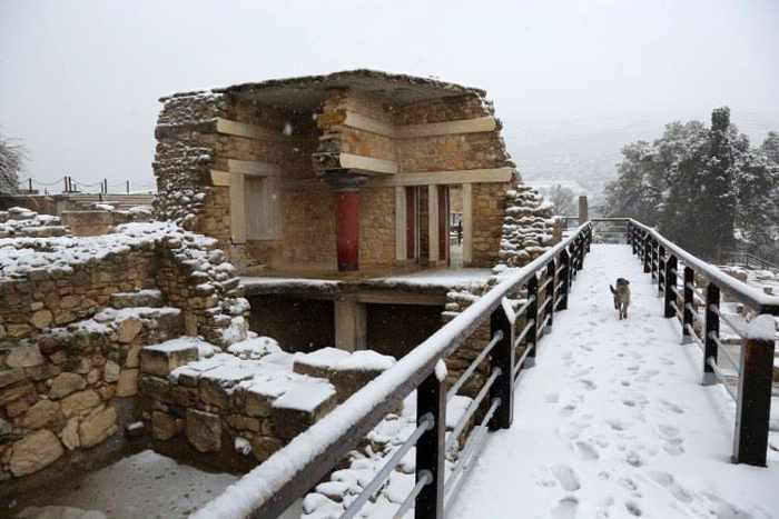 Snow at Knossos Palace on Crete