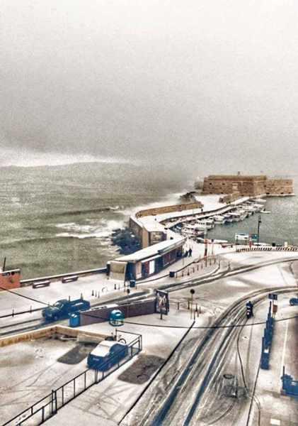 Snow in Heraklion Crete
