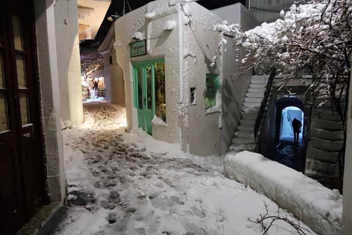 Snow on a street in Chora on Skyros island
