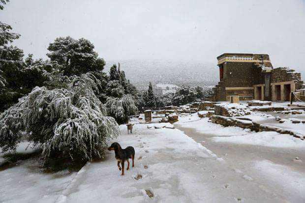 Snow at Knossos Palace on Crete